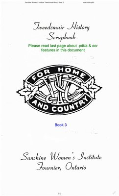 Sunshine WI Tweedsmuir Community History, Volume 3