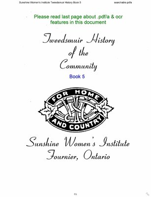 Sunshine WI Tweedsmuir Community History, Volume 5