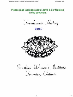 Sunshine WI Tweedsmuir Community History, Volume 7