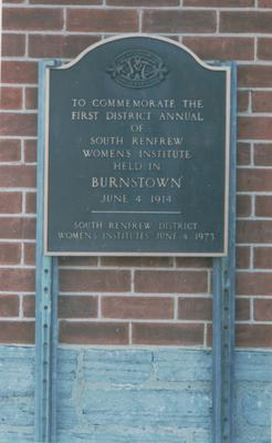 Plaque - Location of First District Annual of Renfrew South