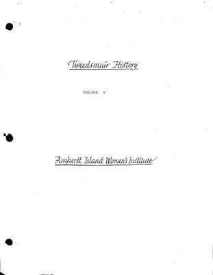Amherst Island Tweedsmuir History, Volume 5 F1 2006-10