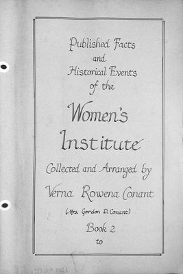 Published Facts and Historical Events of the Women's Institute Volume 2