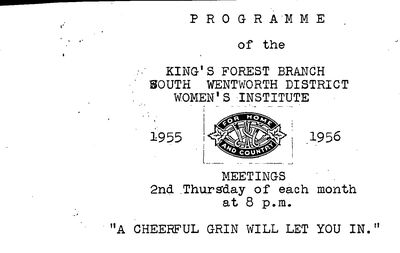 Kings Forest WI Programs and Reports, 1955-1970
