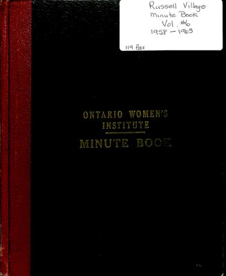 Russell Village Women's Institute Minute Book, 1958-63