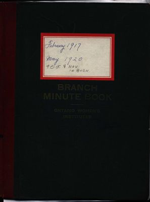 Stoney Creek WI Minute Book, 1917-1920