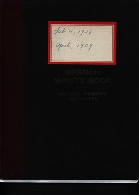 Stoney Creek WI Minute Book, 1926-1929