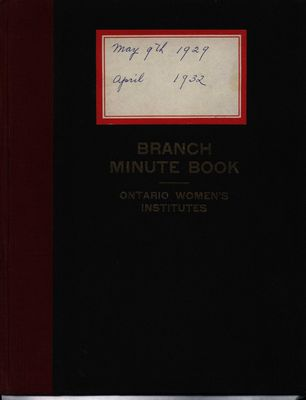 Stoney Creek WI Minute Book, 1929-1932
