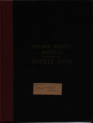 Stoney Creek WI Minute Book, 1963-1967