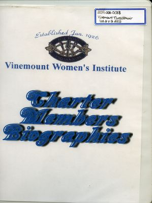 Vinemount WI Tweedsmuir Community History, Volume 2 Charter Members Biographies, Part 2 2003