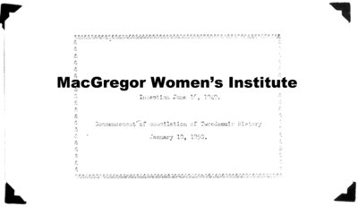 McGregor Tweedsmuir History