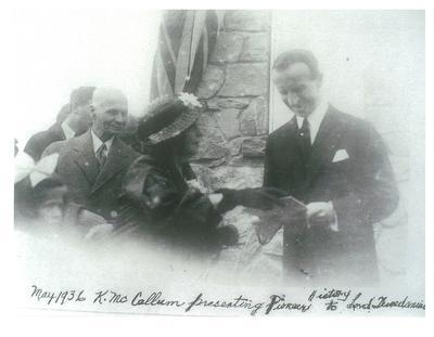 North Easthope Township Cairn, Presentation of Pioneer History to Lord Tweedsmuir, 1936
