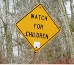 """""""Watch for Children"""" signs near Port Stanley"""