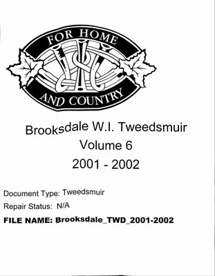 Brooksdale WI Tweedsmuir Community History: 2001-2002