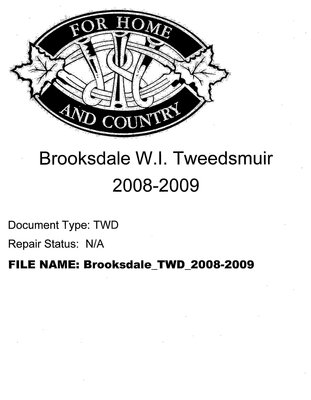 Brooksdale WI Tweedsmuir Community History: 2008-2009