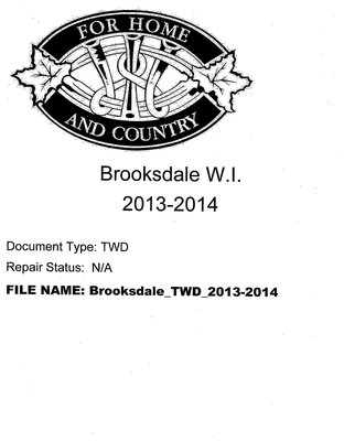 Brooksdale WI Tweedsmuir Community History: 2013-2014