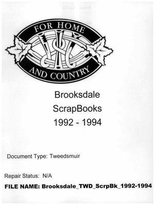 Brooksdale WI Scrapbook, 1992-1994