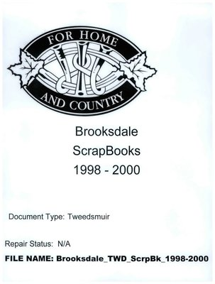 Brooksdale WI Tweedsmuir Community History Scrapbook, 1998-2000