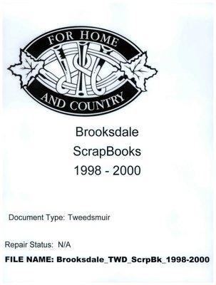 Brooksdale WI Tweedsmuir Community History Scrapbook, 1998-2000