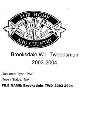 Brooksdale WI Tweedsmuir Community History: 2003-2004
