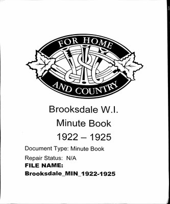 Brooksdale WI Minute Book: 1922-1925