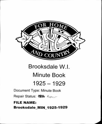 Brooksdale WI Minute Book: 1925-1929