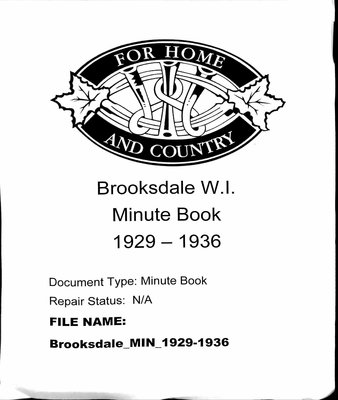 Brooksdale WI Minute Book: 1929-1936
