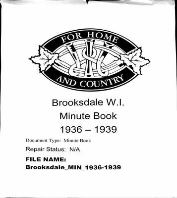 Brooksdale WI Minute Book: 1936-1939