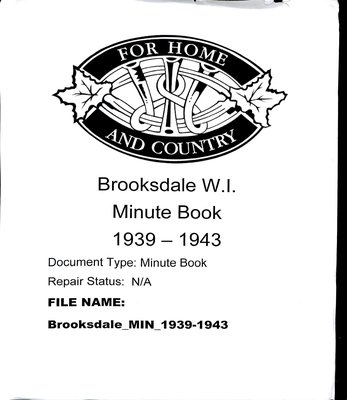 Brooksdale WI Minute Book: 1939-1943