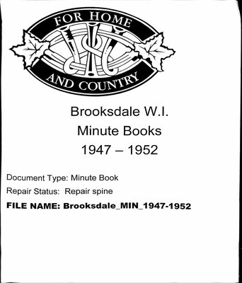 Brooksdale WI Minute Book: 1947-1952