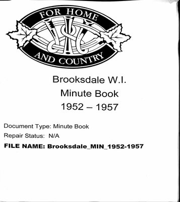 Brooksdale WI Minute Book: 1952-1957