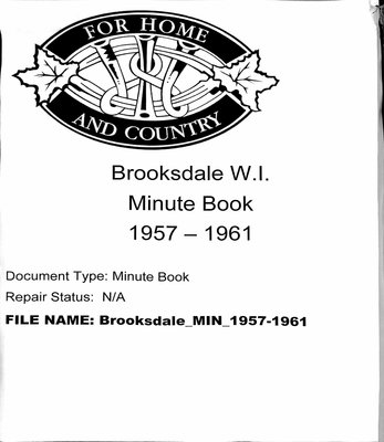 Brooksdale WI Minute Book: 1957-1961