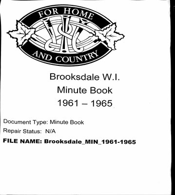Brooksdale WI Minute Book: 1961-1965