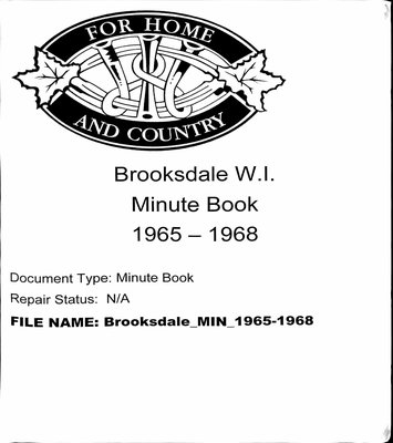 Brooksdale WI Minute Book: 1965-1968