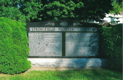 Springfield Pioneer Cemetery Headstone, Erected by the Springfield WI