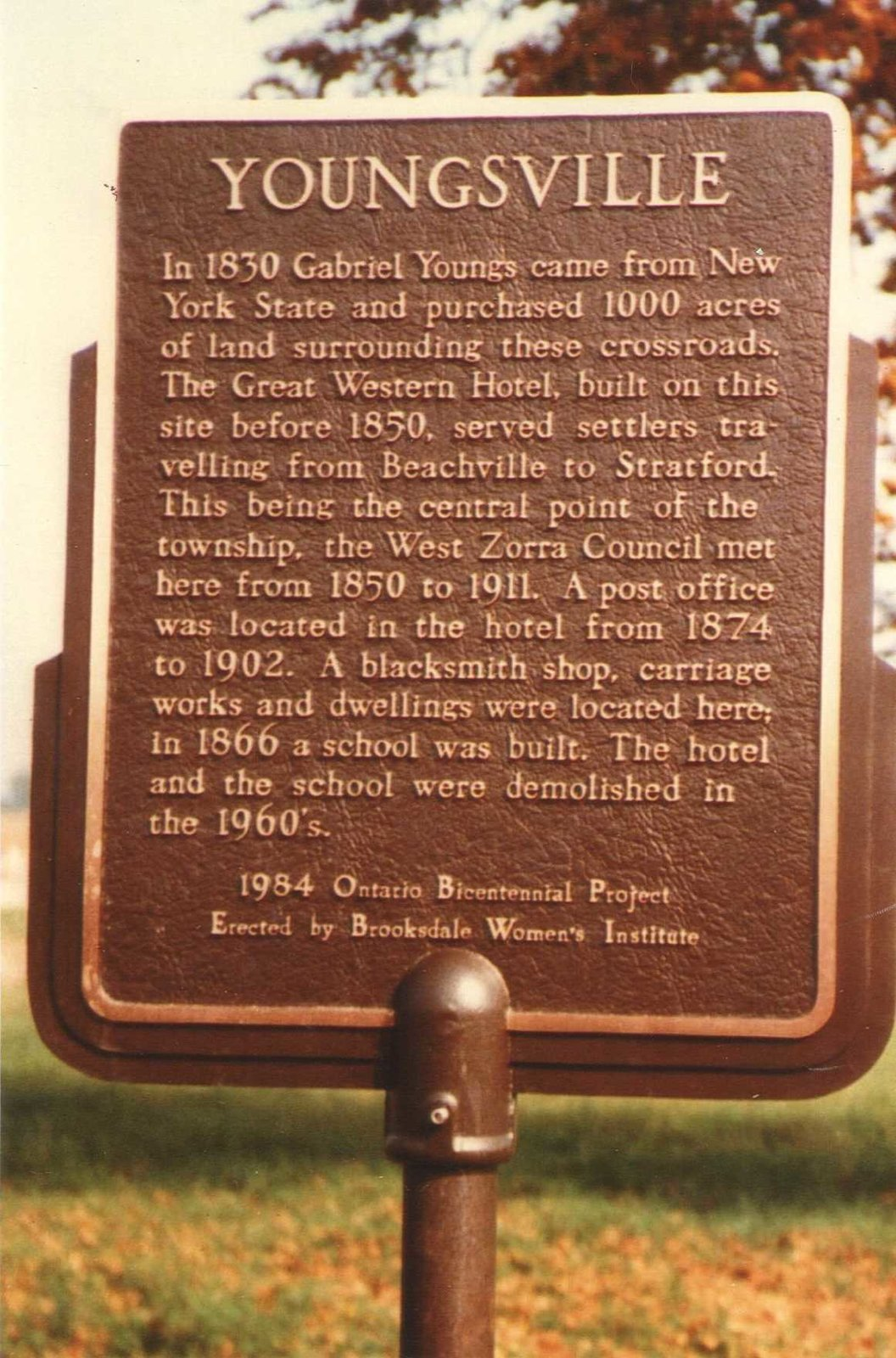 Brooksdale WI Plaque - Youngsville