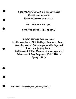 Bailieboro WI Tweedsmuir Community History: 4H Club, 1951-97