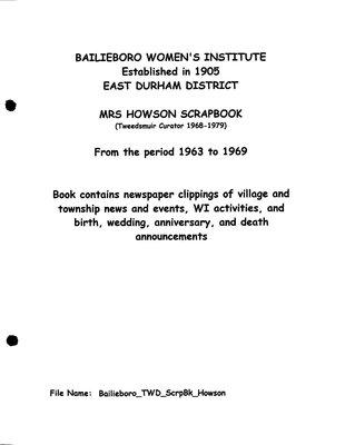 Bailieboro WI Scrapbook, Elizabeth Howson