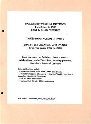 Bailieboro WI Tweedsmuir Community History, Volume 2 Part 1: Branch Events, 1967-2008