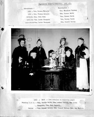 Blackstock WI Tweedsmuir Community History, 1951-1970s