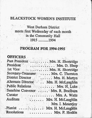 Blackstock WI Tweedsmuir Community History, 1995