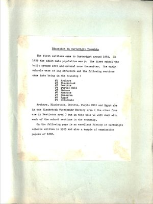 Blackstock WI Tweedsmuir Community History, Education in Cartwright Township