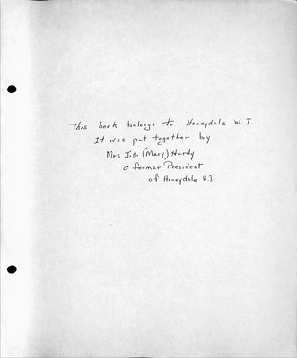 Honeydale WI Scrapbook, 1963-69