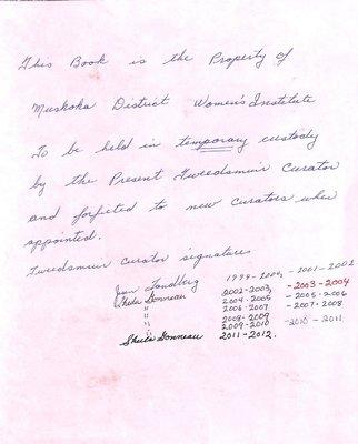 Muskoka District WI Tweedsmuir Community History, Volume 1