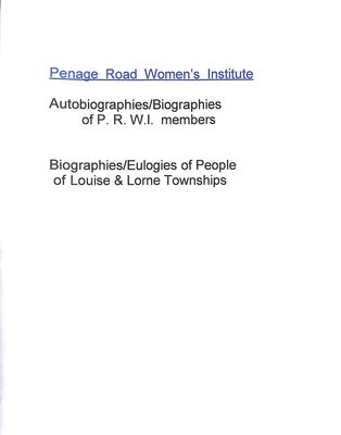 Penage Road WI Tweedsmuir Community History, Volume 2