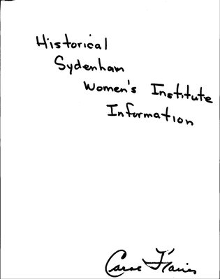 Sydenham WI Tweedsmuir Community History, Volume 7