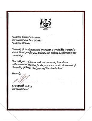 Castleton WI 100th Anniversary Certificate from Lou Rinaldi, M.P.P., 2005