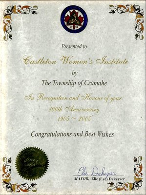 Castleton WI 100th Anniversary Certificate received from Elie (Lee) Kekeyser, Mayor, 2005