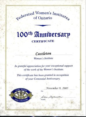 Castleton WI 100th Anniversary Certificate from FWIO, 2005