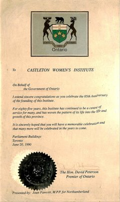 Castleton WI 85th Anniversary Certificate from the Government of Ontario, 1990