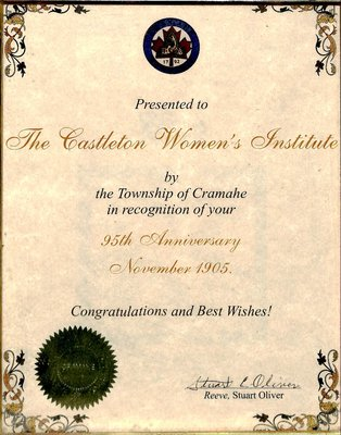 Castleton WI 95th Anniversary Certificate from Reeve Stuart Oliver, 2000
